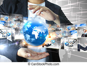 Businessman holding world Technology concept