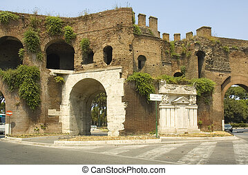 Roman Gate at the end of Via Veneto - Ancient Roman Gate in...