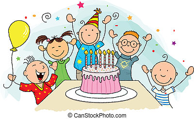Birthday party - Happy birthday ! Group of young child...