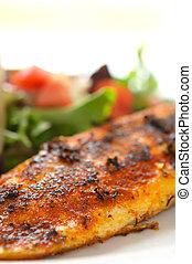 entero, Sazonar, filete, blanco, pez, mezclado, ensalada,...