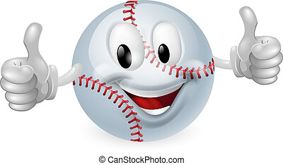 Baseball Ball Mascot - Illustration of a cute happy baseball...