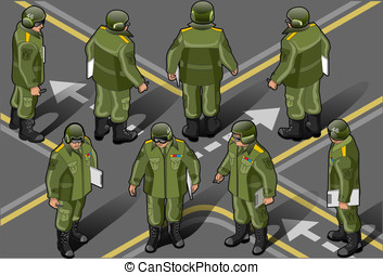 isometric set of military man in eight position - Detailed...