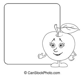 Character apple and poster, outline - Cartoon, fruit,...