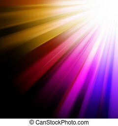 Blue, pink, orange luminous rays. EPS 8