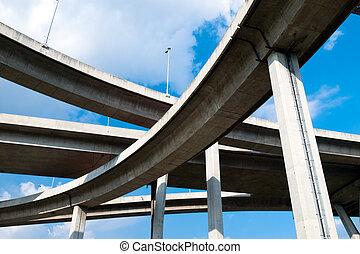 Bhumibol Bridge, The Industrial Ring Road Bridge in Bangkok,...