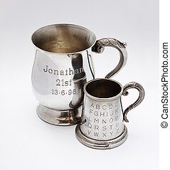 pair of engraved keepsakes - A pair of tankards with...