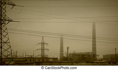 Nuclear power station - View of a nuclear power station and...
