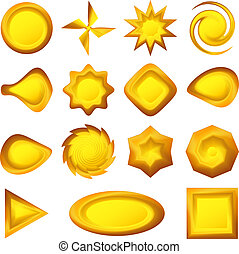 Buttons different forms, gold, set - Buttons set, gold icons...