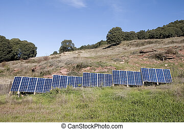 Solar panels in a farm in Catalonia, Spain