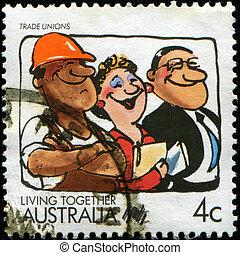 Trade Unions, Living together - AUSTRALIA - CIRCA 1988: A...