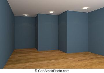 bleu, vide, salle