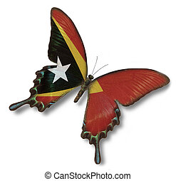East Timor flag on butterfly isolated on white