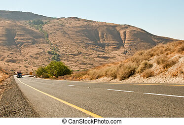 Highway road Galilee North Israel - A view of a highway road...