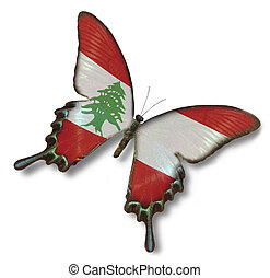 Lebanon flag on butterfly isolated on white