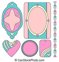 tags, labels, heart and trim
