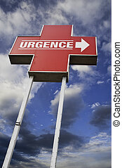 Urgence - A red croos sign with a mix of clouds and blue sky...