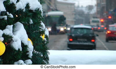 HD - Winter in the City. Traffic of a car at Christmas