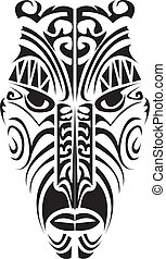 Maori mask. - Maori mask in black and white.
