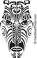 Maori mask. - Maori mask in black and white.