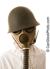 Person in gas mask and helmet on white background