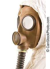 Person in gas mask on white background