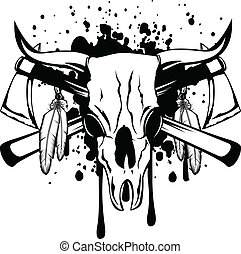 skull bull and crossed axes - Vector illustration skull bull...