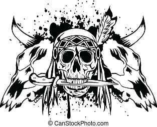 skulls bull and skull Indian - Vector illustration skulls...