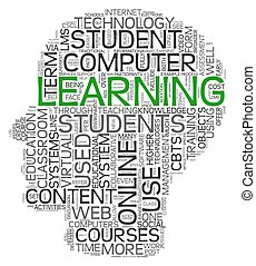 Learning concept in tag cloud of human head shape on white...