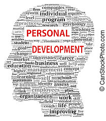 Personal development in tag cloud of human head shape on...