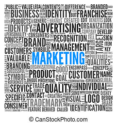 Marketing concept in word tag cloudon white