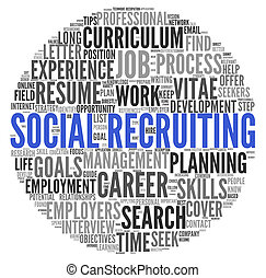 Social recruiting concept in word tag cloud on white...