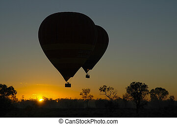 Hot air balloons outback sunrise