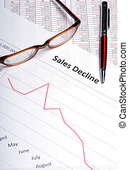 Sales Decline - Business analysis showing line graph with...
