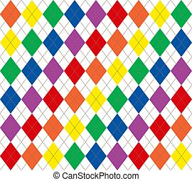 Rainbow Argyle - Illustration of bright rainbow colored...