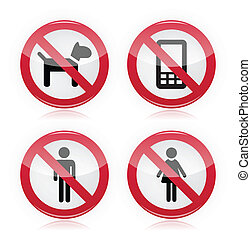 No dogs, No phones, No men sign - Glossy red sign -...