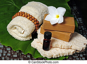 Relaxing spa products - Soap and essential oils needed for a...