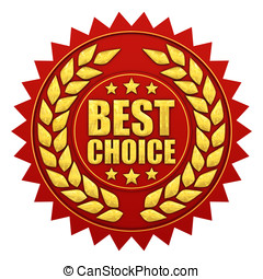 Best choice warranty, red and gold label