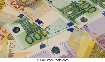 HD - Euro. camera flies over money