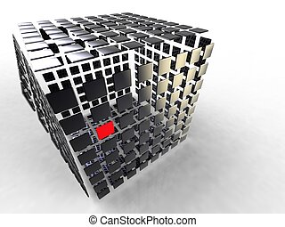 illustration of a black cube composed of several plates black and red