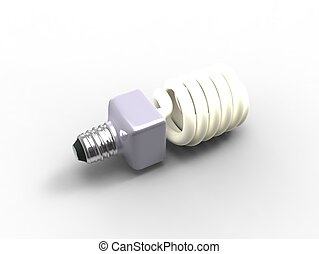 3d illustration of a compact fluorescent light bulb low...