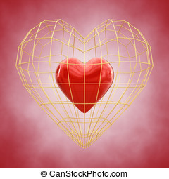 Red heart in golden cage , Valentine's Day celebration