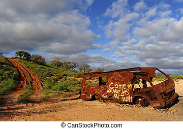 Car wreck outback Australia - Abandoned burnt out car wreck...