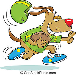 Football Dog - Cartoon illustration of a dog playing...