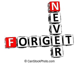 3D Never Forget Crossword on white background