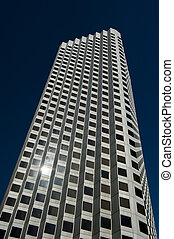 Office Building Facade - Upward view of office skyscraper...
