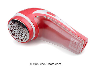 Lint remover - Red electric lint remover isolated on white