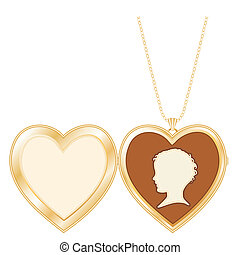 Antique Heart Locket Childs Cameo - Engraved gold keepsake...