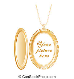 Vintage Engraved Oval Gold Locket - Vintage oval engraved...