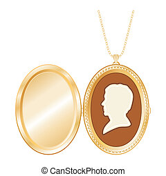 Antique Gold Locket, Vintage Cameo - Engraved oval gold...