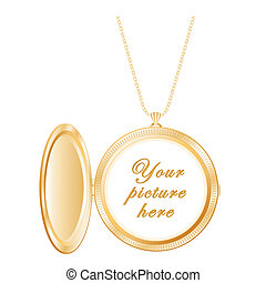 Vintage Engraved Round Gold Locket - Vintage gold round...